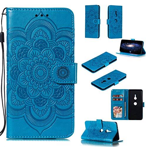Capa para Xperia XZ3, YINCANG com estampa de flor de sol em relevo couro PU macio TPU silicone interno compartimentos para cartão magnético Flip Case para Sony Xperia XZ3 6 polegadas - Azul