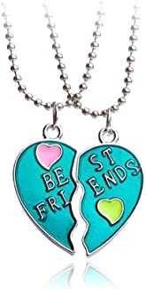 MJartoria Kids BFF Necklaces for 2 Split Heart Necklace Best Friends Forever Pendant Friendship Necklace Set
