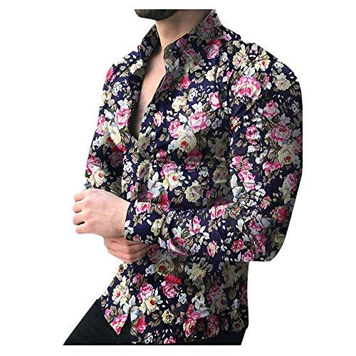 Shirt for Men, F_Gotal Men's T-Shirts Fashion Summer Printed Floral Long Sleeve Slim Fit Sport Tees Blouse Tops Black