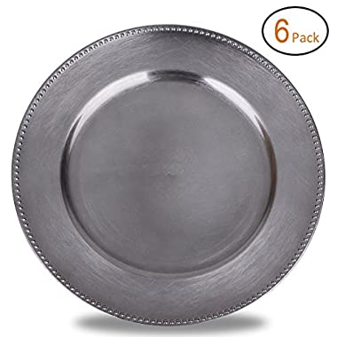 FANTASTIC :)  Round 13 Inch Plastic Charger Plates with Metallic Finish (6, Beaded Gungrey)