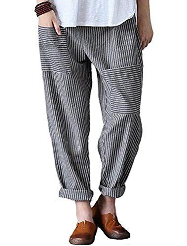 Mallimoda Damen Beiläufige Leinen Gestreift Hosen Casual Haremshose Lange Hose Art 1-Grau XL
