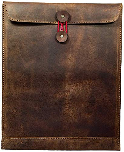 Leather Document Holder Mailing Envelope,Office & Work Resume Sales Portfolio Binder Folder-Interview/Legal Document Organizer Handmade Bourbon Brown (12.5 inches)
