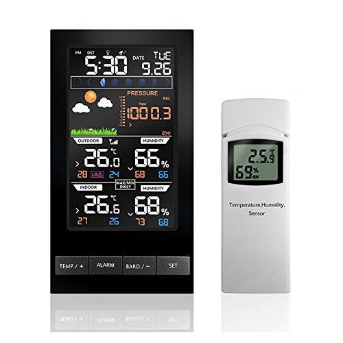 ETBOTU LCD Colorido Display Estación meteorológica Temperatura Humedad Inalámbrico con Barómetro Reloj de Previsión del Clima, European specification.