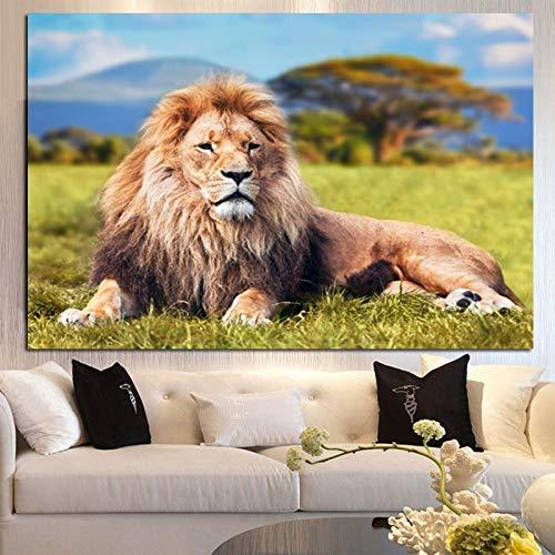 wZUN Elefante Africano León Indio Animal Paisaje Lienzo Pintura Mural Imagen impresión y póster decoración Moderna del hogar 50x70cm