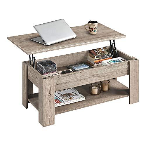 Yaheetech Table Basse Relevable en Bois Compartiment Caché 1 Etagère Table de Salon Moderne Couleur Chêne 98 x 50 x 42 cm