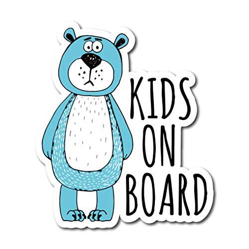 アメコミ風 クマ Kids on board シール ブルー ステッカー