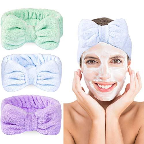 cheap4uk 3 Piezas Banda para el Cabello con Nudo de Lazo, Envoltura para la Cabeza Toalla elástica Bowknot Lavado de Cara Maquillaje de baño Ducha Deportiva Cuidado de la Piel