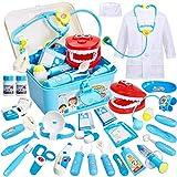 Buyger Maletin Doctora Juguetes Medicos Dentista Enfermera Disfraz Kit Doctor Accesorios Juego de rol Regalos para Niñas Ninos 3 4 5 6 Años (Azul)