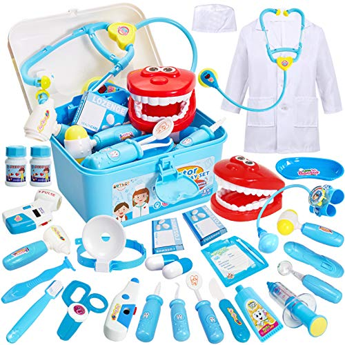 Buyger 35 Piezas Maletin Medicos Doctora Juguete Disfraz Doctora Kit Medicos Juego Accesorios Juego de rol Cumpleaos Regalos para Nias Ninos 3 4 5 6 Aos (Azul)