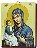 Ferrari & Arrighetti Icono Virgen con Manto Azul Pintado a Mano sobre Madera - 13 x 16 cm