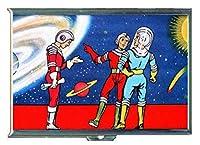 1950年代Spacemen SFシーンステンレススチールIDまたはCigarettesケース( Kingサイズまたは100mm )