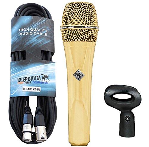Micrófono M80 de Telefunken, color dorado, con cable Keepdrum XLR de 6m
