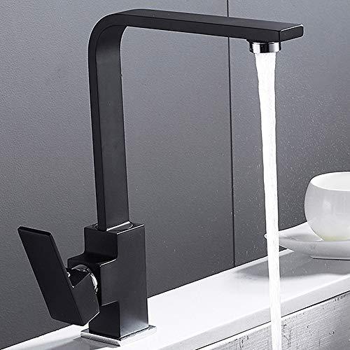 Moderno fregadero de cocina grifos cascada un agujero sola palanca de latón sólido monobloc pulido negro giratorio lavabo mezclador frío y caliente grifo negro