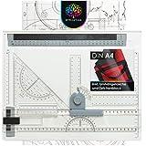 OfficeTree tavola da Disegno ASSE da Disegno Geo Board 33 x 43 cm – 7 Pezzi per Un Lavoro preciso – Borsa da Trasporto e numerosi Accessori
