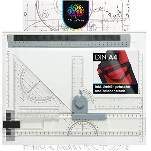OfficeTree Zeichenplatte A4 - Inkl. Tragetasche, Schiebelineal, Geodreieck UVM. - Zeichenbrett A4 für exaktes Arbeiten - DIN A4 Zeichenplatte