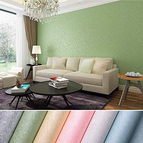 KINLO Selbstklebende Tapeten 0.61 * 5M PVC wasserfest Möbelfolie mit Seidenfaden Muster Wandaufkleber für Wohnzimmer TV Hintergrund Wand (Hellgrün)