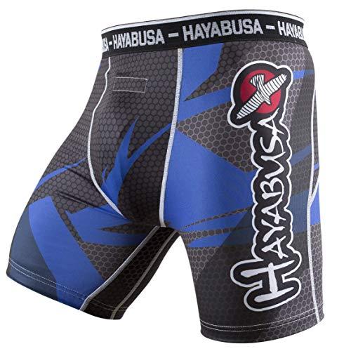 Hayabusa Metaru 47 Silver Jiu Jitsu Compression Spats - Black/Blue, Large