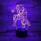 Lámpara LED 3D Illusion Touch Night Light,Flash automático Multicolor RGB Decoración para el hogar Atmósfera USB Regalo de Navidad