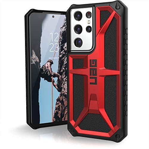 Urban Armor Gear Monarch Copertura Samsung Galaxy S21 Ultra 5G (6,8') Cover (Ricarica senza fili compatibile, Protezione da caduta di grado militare, Resistente alle cadute) - rosso (crimson)