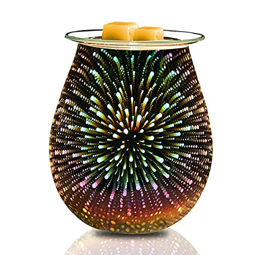 Lovegerger 3D Glass Fireworks Wax Melts Warmer Electric - for Home Office Bedroom,Fragrance...