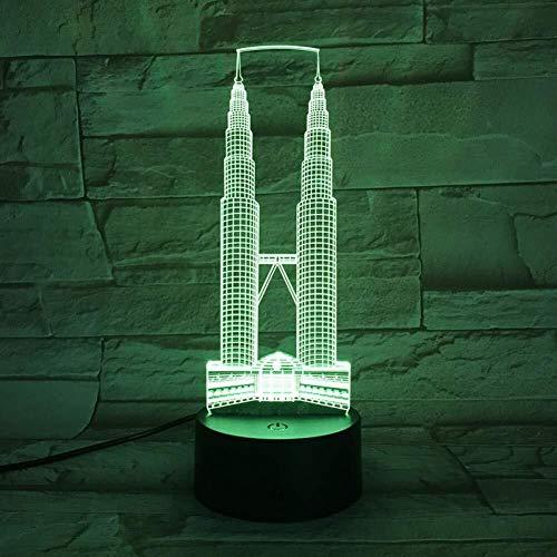 3D Illusion LED lampe bâtiments célèbres bureau USB Chambre Décor Veilleuse enfants Enfants Fille actuelle Festival de cadeau capteur tactile 7 couleurs lumière de nuit