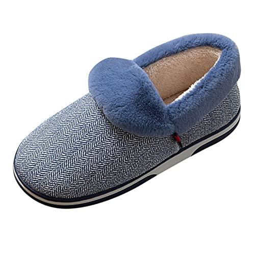 Briskorry Cómodas zapatillas de estar por casa unisex, pantuflas cálidas de invierno para mujer y hombre, de felpa, planas, antideslizantes, para exteriores e interiores, para casa