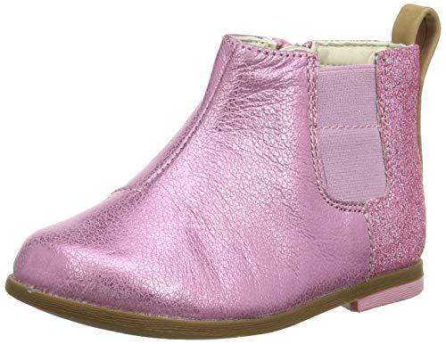 Clarks Mädchen Drew Fun T Chelsea Boots, Pink (Pink Sparkle Lea Pink Sparkle Lea), 24 EU