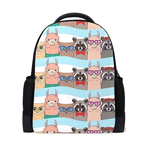 Schultasche, Llamas Racoons Eulen Schule Laptop Rucksack Casual Daypack Reiserucksack Student Büchertaschen