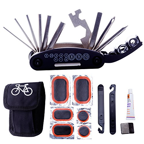 DAWAY A32 Bike Repair Tool Kits - 16 in 1 Multifunction Bicycle Mechanic Fix Tools Set Bag with Tire Patch Levers & Glue, Practical Xmas Thanksgiving Birthday Gift