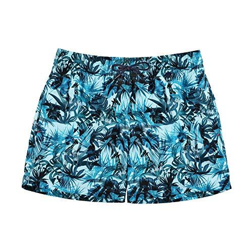 HOM - Hombre - Beach Boxer 'Safari' - Atractivos Trajes de baño de diseño Floral exótico - Peacock Blue - M ⭐