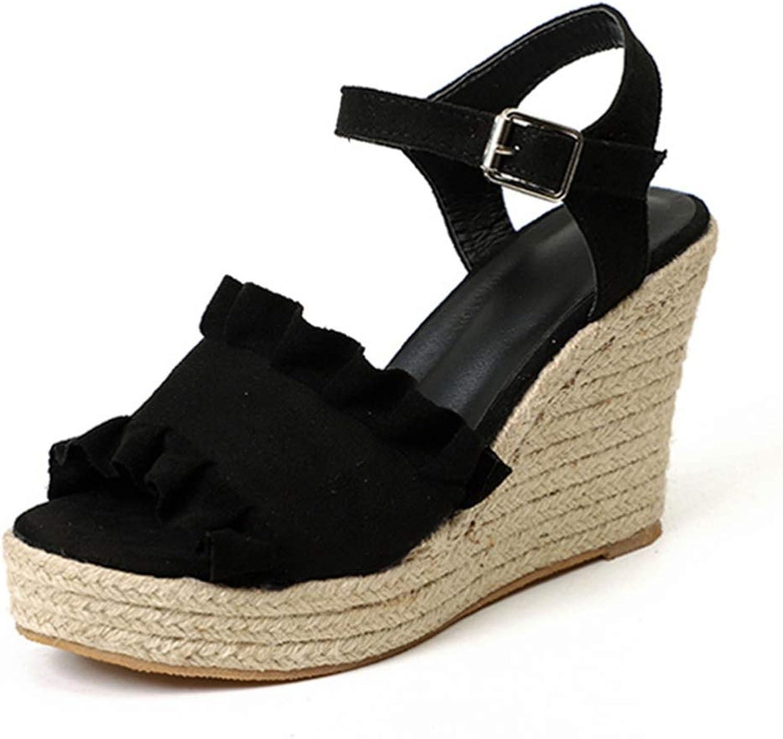 Women Ruffle Ankle Buckle Strap Wedge Platform Sandals High Clog Heel Peep Toe Ladies Summer shoes