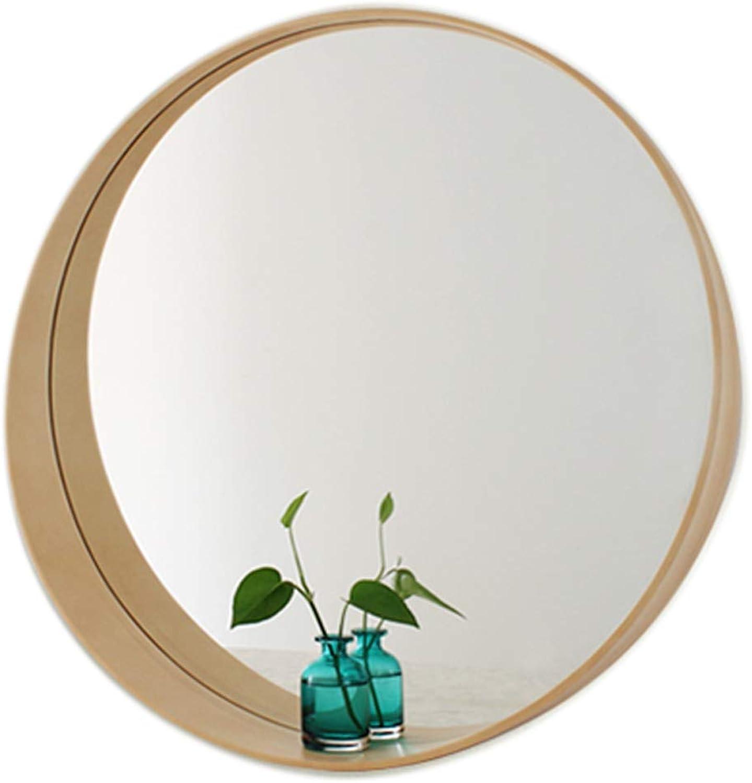 Wall Mounted Vanity Mirror Concise gold Round Wood Frame Decorative Mirror Bedroom Bathroom Makeup Mirrors Living Room Corridor Wall Hangs Mirror (19.7 27.6Inch)