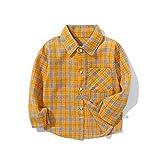 Chemise à carreaux pour bébé garçon - Manches longues boutonnées - Avec poche - Plaid jaune et noir - 5-6T/130