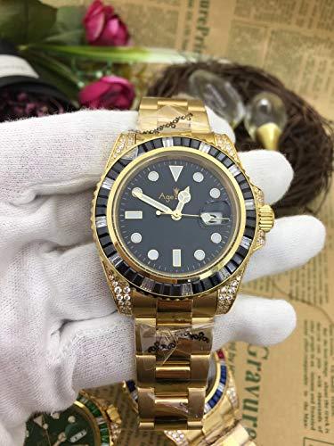 PLKNVT Luxury New Brand Men Automático Mecánico Rainbow Diamonds Acero Inoxidable Oro Negro Azul Verde Clásico Reloj Gent's2