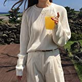 FDJIAJU Suéter De Mujer,Tejido De Punto,Moda para Mujer Suéter De Punto De Manga Completa Mujer Sólido O-Cuello Jersey Y Suéter Suelto Casual Básico De Manga Larga Prendas De Punto Tops, Albaricoque,