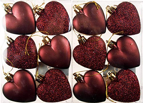 BWG Set Of 12 x Love Heart Christmas Tree Baubles - Deep Mulled Wine Red