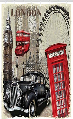 ABAKUHAUS Collage Schmaler Duschvorhang, Vintage London-Zeichen-Collage, Badezimmer Deko Set aus Stoff mit Haken, 120 x 180 cm, Elfenbein Schwarz Rot & Taupe