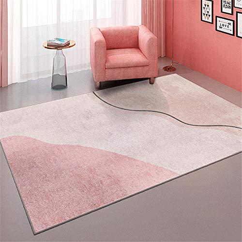 Kunsen tapetto Antiscivolo per tappeti Tappeto Rosa Soggiorno Camera da Letto Decorazione Moderna Rettangolare Antiscivolo e Resistente all'Usura tapetti da Salotto 160X200CM 5ft 3' X6ft 6.7'