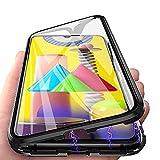 Galaxy M51 Hülle, Handyhülle für Samsung Galaxy M51 Hülle Magnetic Adsorption, HülleLover 360 Grad Komplettschutz Schutzhülle Clear Doppelseitige Aus Gehärtetem Glas Metall Flip Hülle Tasche, Schwarz