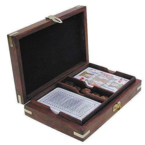 linoows Spielkarten und Würfel Box, Spielebox mit Klappdeckel, Holz mit Messingintarsien
