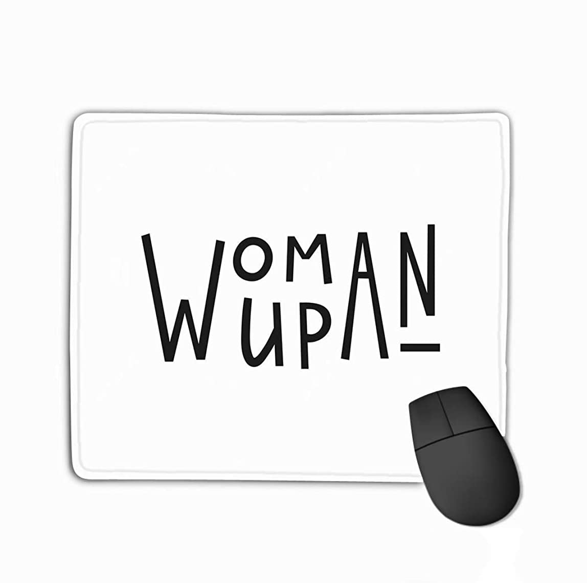 Mouse Pad Woman up Quote Feminist Lettering Calligraphy Inspiration Graphic Design Typography Element Card Rectangle Rubber Mousepad 11.81 X 9.84 Inch dykepii673385