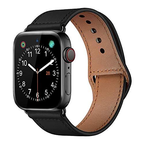 iBazal leren armband vervanging voor iWatch Series 5 Series 4 Series 3 Series 2 Series 1 armband 44 mm 42 mm leren horlogeband bands armbanden horlogeband echt lederen band horlogeband herenhorloge bracelets, 42mm/44mm, Leer - N - zwart