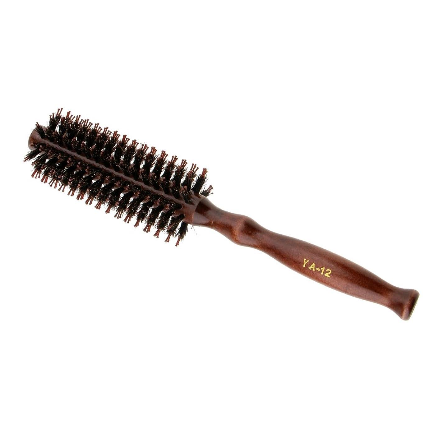 シェフ乱雑な然としたPerfeclan ロールブラシ ヘアブラシ カール 巻き髪 頭皮マッサージ ウッド ハンドル 理髪 カール 2タイプ選べる - #2