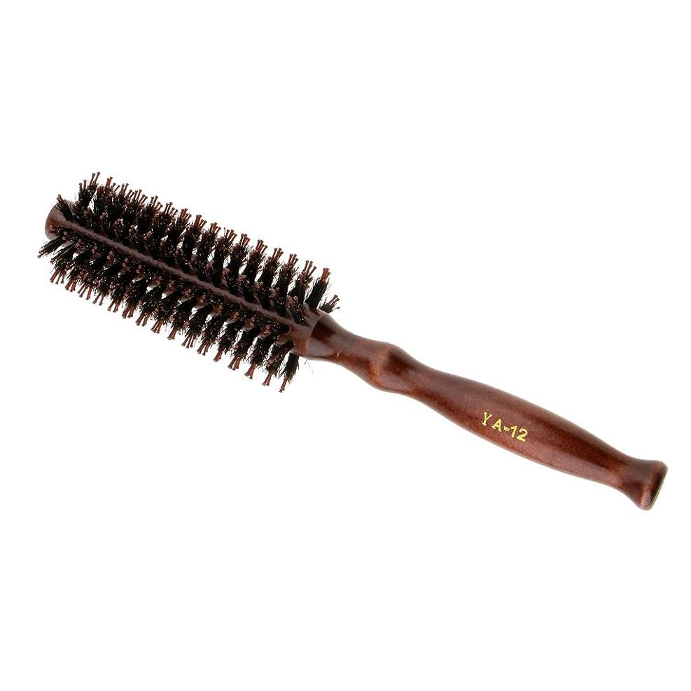 傾向がある曲がったエラーPerfeclan ロールブラシ ヘアブラシ カール 巻き髪 頭皮マッサージ ウッド ハンドル 理髪 カール 2タイプ選べる - #2
