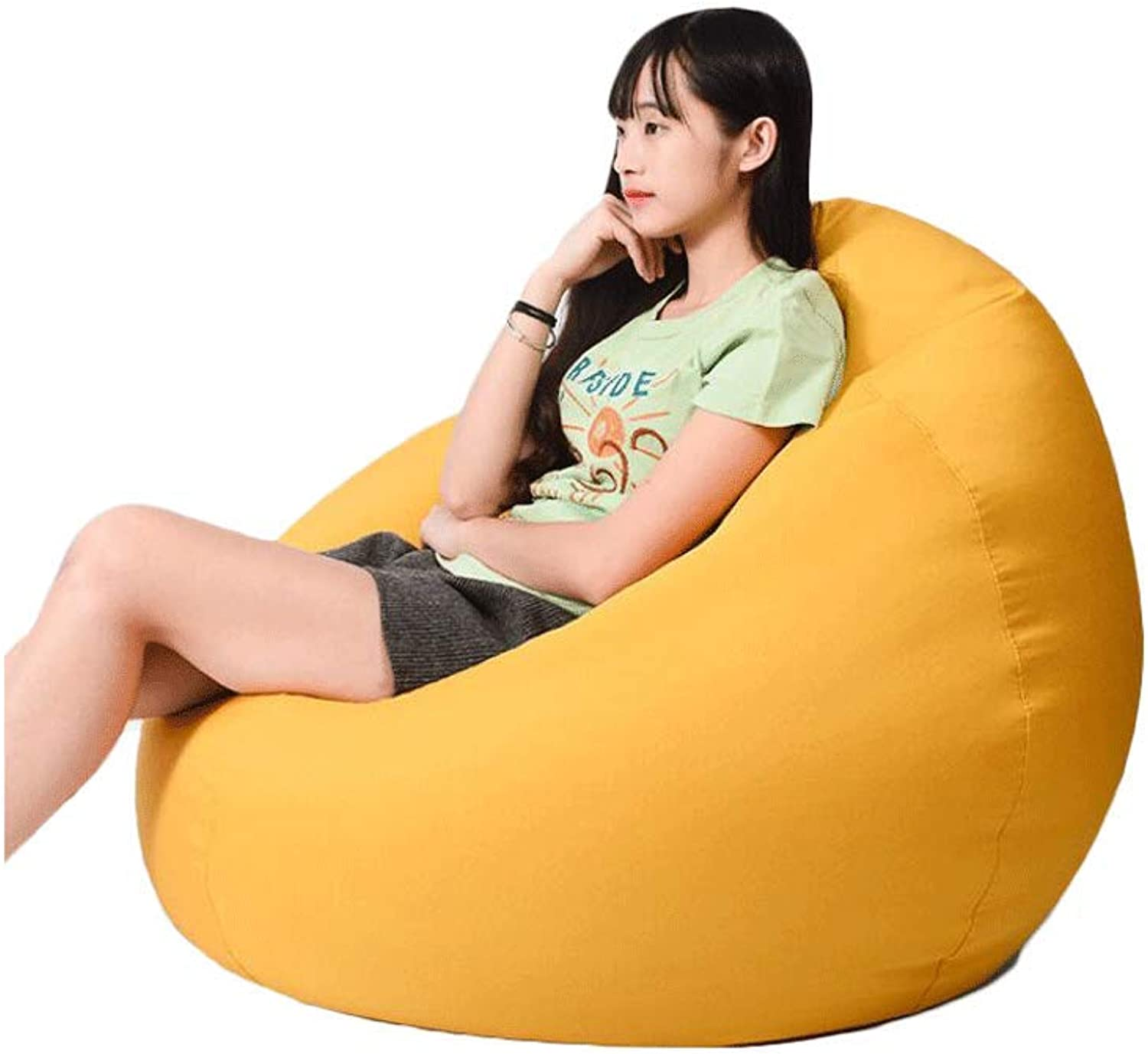 Lazy Sofa Bean Bag Single Bedroom Cute Small Sofa Personalized Ground beanbag Sofa (color   Yellow, Size   1)