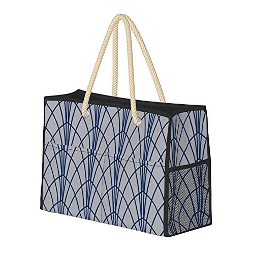 Arcada - Borsa da spiaggia da donna, stile moderno, geometrico, grigio, grande borsa da spiaggia, borsa da viaggio, borsa per weekender, borsa a tracolla per spiaggia, viaggi, palestra
