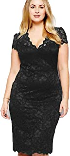 Womens Ladies Swing Floral Print Short Sleeve Lacy Dress Top Dress Plus Size