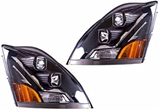 Replacement For 04-15 VN VNL Truck Projection Headlight Left Right Pair Blk w/Chrome Bolt 82329124 82329127