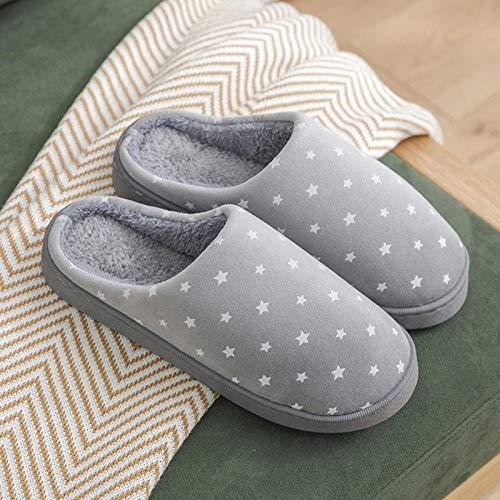 HUSHUI Espuma De Memoria CáLido Comodidad Pantuflas,Zapatillas Gruesas Antideslizantes Resistentes al Desgaste, Zapatos de algodón para el hogar con Suela Blanda-Gris 8_42-43,CáLido Pantuflas Memoria