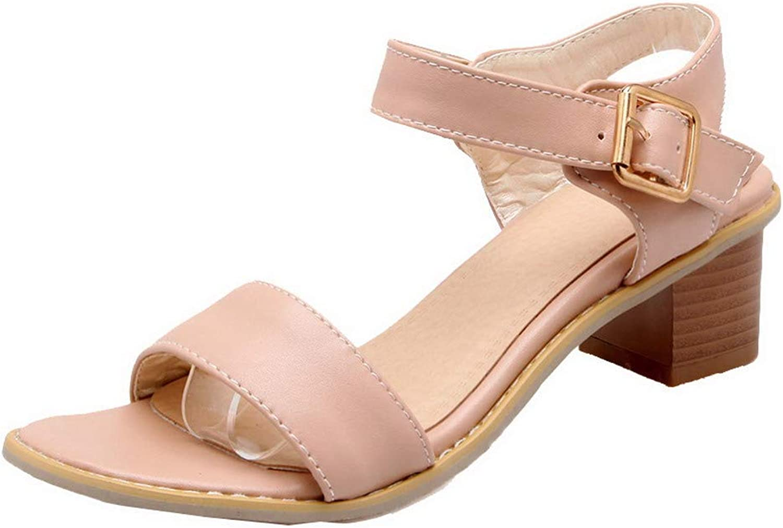 WeiPoot Women's Buckle Pu Open Toe Kitten-Heels Solid Sandals,EGHLH004597